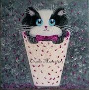 Peinture acrylique «Chat romantique aux pétales de roses».