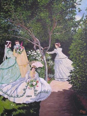 Femmes au jardin d'après monet.  Pierre Adolle