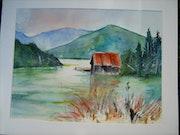 .Cabane de pêcheurs au bord d'un lac Italien.