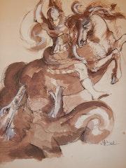 Combat de St Michel et le dragon d'après Rubens.