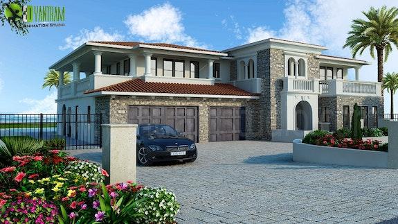 Luxurious Home Exterior Design Rendering. Yantram Studio Yantram Animation Studio