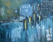 Bleus - abstraction sur toile.