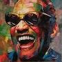 Ray charles peinture original de 80x80 cm huile sur toile. T. Me. S