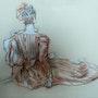 Copie d'un dessin de watteau. Pierre Adolle