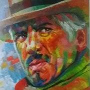 Lou Deprijck huile sur toile 80x80 cm original.