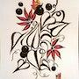 «Fleurs rouges » / dessin encres de Chine. Mariraff
