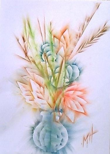 Bouquet d'août / 21 X 29.7 / pastel gras repoussé. Mariraff