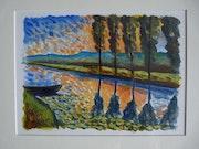 Soleil couchant sur le marais Poitevin.