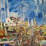 Village portuaire sur grand ciel bleu. Galerie Les Echappées De L'Art – Galerie Parisienne