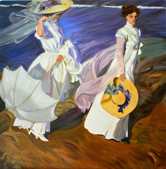 Femmes marchant sur la plage. D'aprés Joaquim De Sorolla Josi