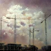 Sky and cranes.