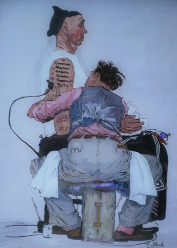 Peinture sous verre - le tatoué. Annie Saltel Annie Saltel