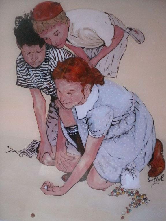 Peinture sous verre - la petite joueuse de billes. Annie Saltel Annie Saltel
