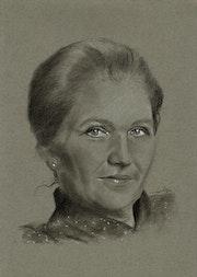 Simone Veil, fusain.