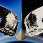 Hemisferio 1, aerógrafo en la fotografía en blanco y negro, colores resistentes. Hans-Georg Fischenich