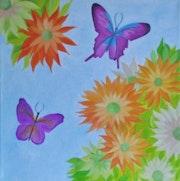 Tournesols et papillons.
