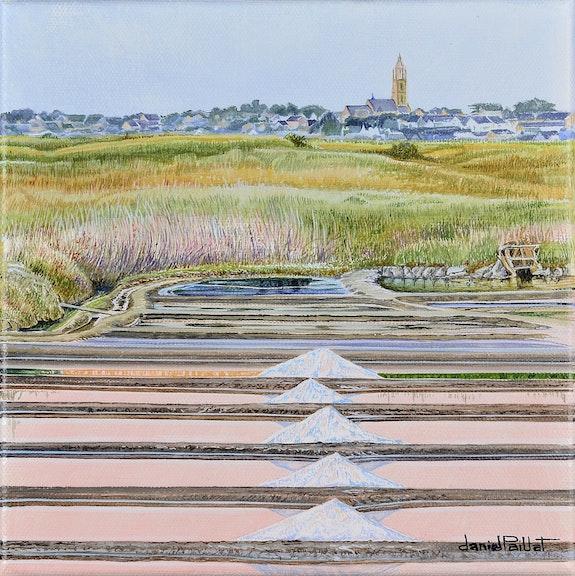 Le clocher du Bourg de Batz. Daniel Paillat Artiste Peintre Daniel Paillat