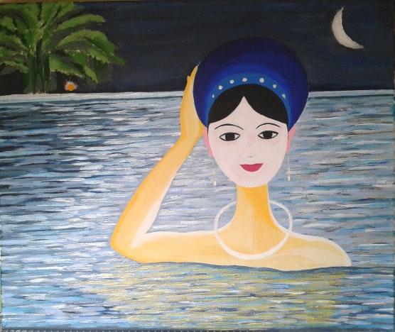 Bathing in river - Le bain à la lune. Van Le Vanle