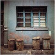 Garbage cans N. Y.. Michel Hosszu