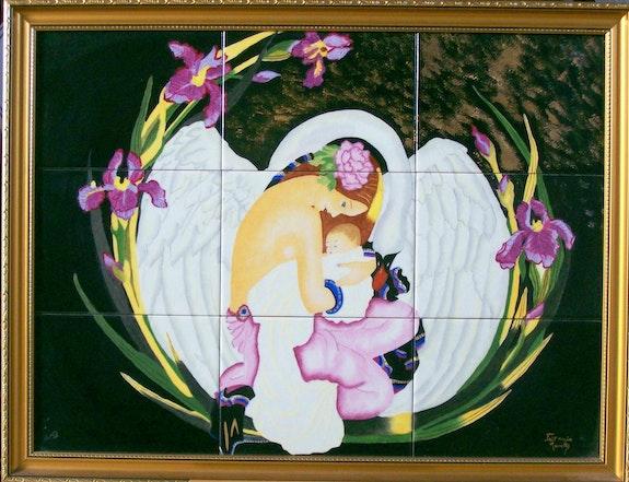 La mère, l'enfant dans les ailes du cygne. Monette Monette O'neill
