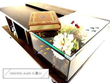 Table basse design aquarium - Eclairage led sans fil. Vpa Design