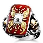 Roman Sputum Legionnaire silver Mens enamel ring.