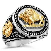 10K Gold Buffalo Nickel Design Silver Signet Ring.