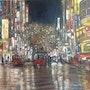 Une ville la nuit apres la pluie. Electre