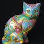 Chat peint à la main. Violette Causse