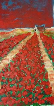 Les tulipes rouges.