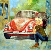 «La jeune femme à la coccinelle rouge».