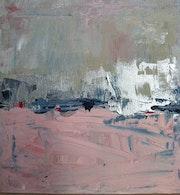 Pink dream 1, triptyque abstrait, rose, taupe, argenté.
