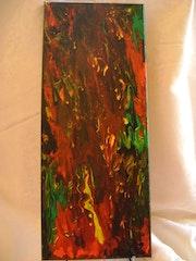 Tableau fluide acrylique «Une touche de rouge».