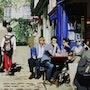 Sitting on a nice terrace in Paris. Clotilde Nadel