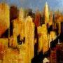 Apèro in Manhattan (Acrylic cityscape painting). Tracey Rowan