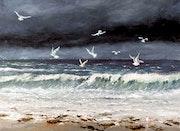 Avis de tempête, les goélands font bonne pêche..
