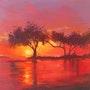 Tranquility (Acrylic sunset painting). Tracey Rowan