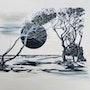 Dunkle Sonne weißer Strand 2014 Öl auf Acryl mit Strukturen. Zimmermann, Gerd «The Artist»