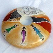 Bougeoir en porcelaine peint à la main. Atelier Porcelaine-Mc