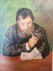 Jean Renoir fumant la pipe d'Auguste renoir. Andrée Alice Lambert