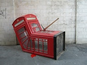 Dead red phone box.