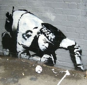 Police sniffing cocain. Banksy