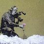 Press filming. Banksy