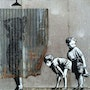 Kids looking at woman under shower. Banksy