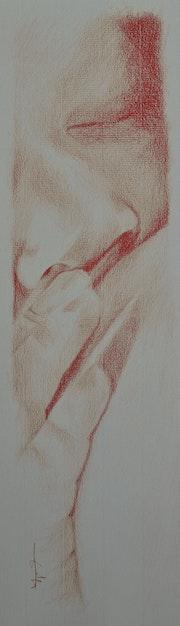 Bébé au sein. Sanguine grasse sur Ingres blanc..