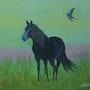 Terre de Médoc : un cheval admiré à Soulac. D'après photo. Ghislaine Phelut