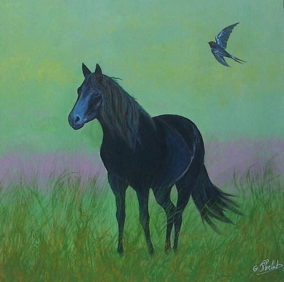 Terre de Médoc : un cheval admiré à Soulac. D'après photo. Ghislaine Phelut-Sanchez Ghislaine Phelut