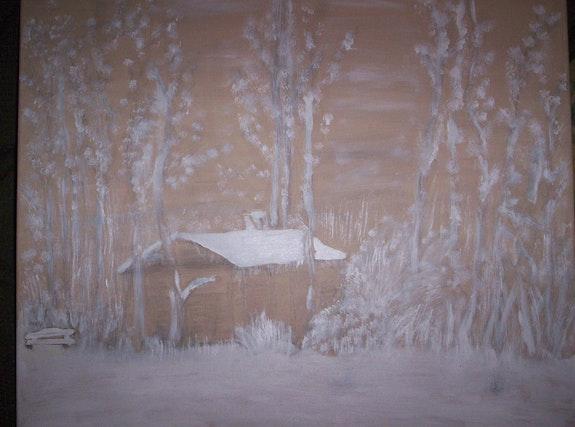 Petite maison dans les sous bois sous la neige. Chantal Fiorato Chantal Fiorato