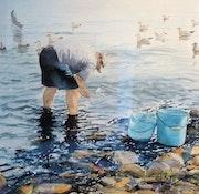 Retour de pêche, le nettoyage des poissons.