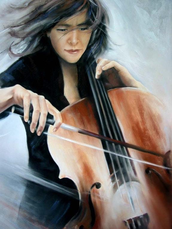 La violoncelliste 70x90. Eliane Marque Eliane Marque